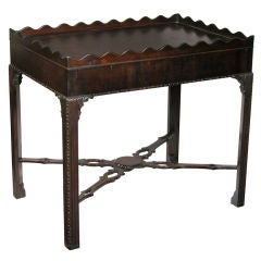 Chippendale Mahogany Tea Table with Scalloped Edge