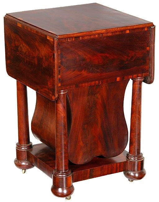 Neoclassical Classical Three-Drawer Worktable with Rare Lyre Basket, Boston For Sale
