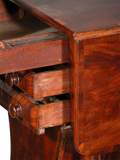 Classical Three-Drawer Worktable with Rare Lyre Basket, Boston In Excellent Condition For Sale In Providence, RI