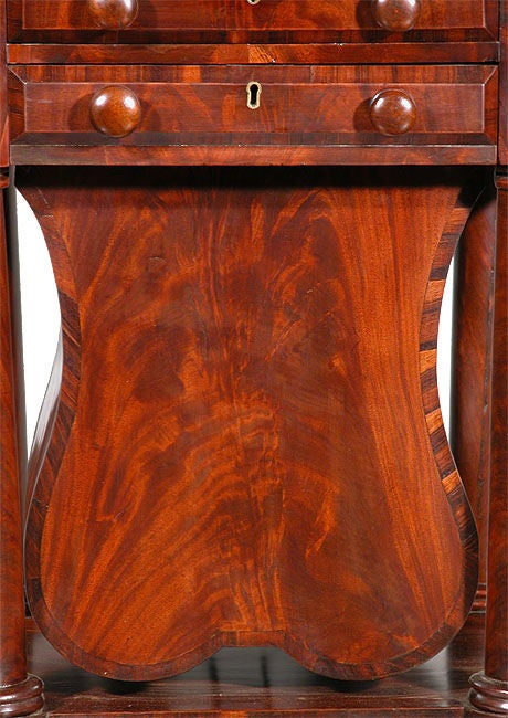 Mahogany Classical Three-Drawer Worktable with Rare Lyre Basket, Boston For Sale
