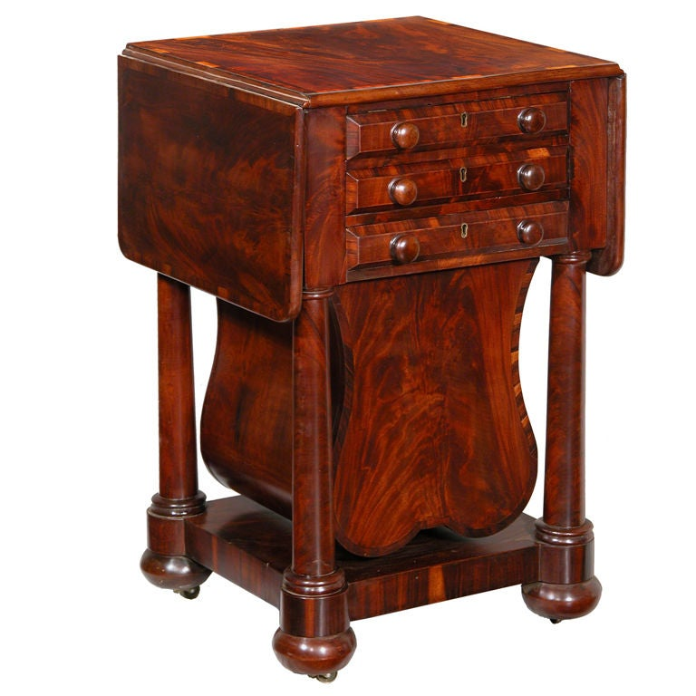 Classical Three-Drawer Worktable with Rare Lyre Basket, Boston For Sale