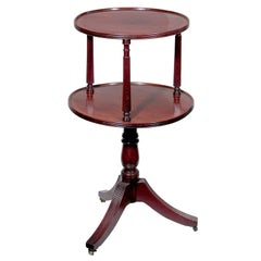 Classical Regency Figured Mahogany Two-tiered Dumbwaiter with Columnar Supports,