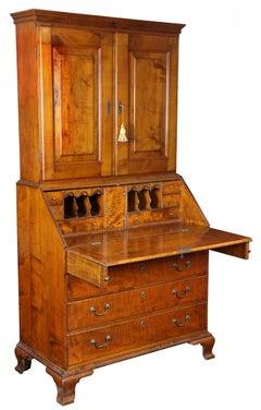 Chippendale Tiger Maple Desk with Bookcase, Newport, circa 1780