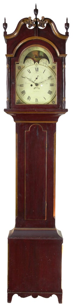 Painted Tall Case Clock, Eight-Day Moon Dial Works