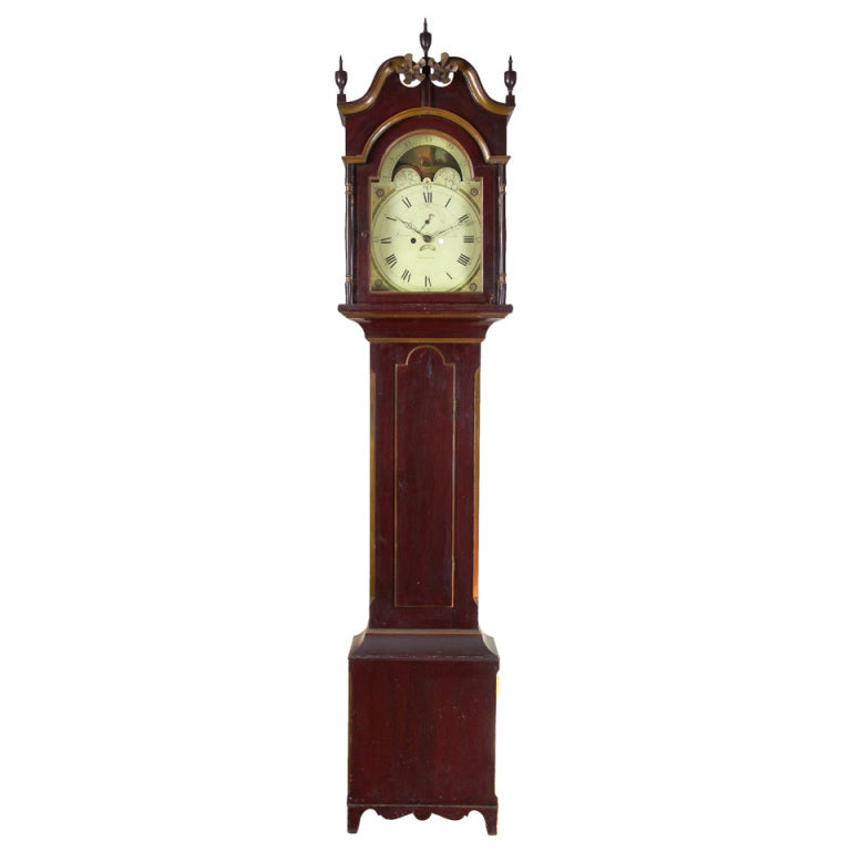 Painted Tall Case Clock, Eight-Day Moon Dial Works For Sale