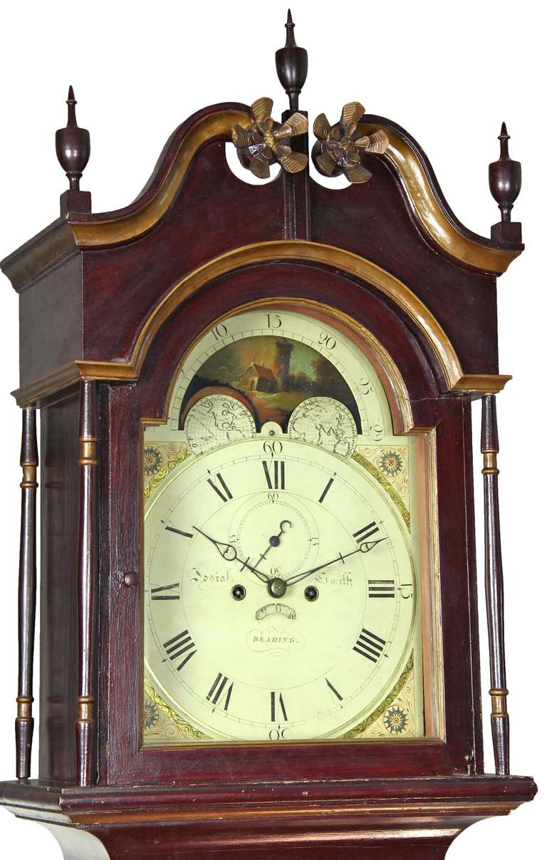 Chippendale Painted Tall Case Clock, Eight-Day Moon Dial Works For Sale