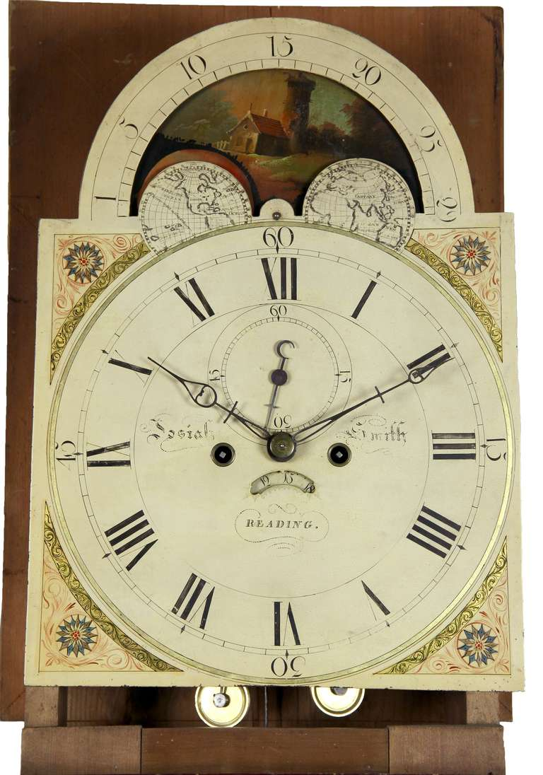 Painted Tall Case Clock, Eight-Day Moon Dial Works In Excellent Condition For Sale In Providence, RI
