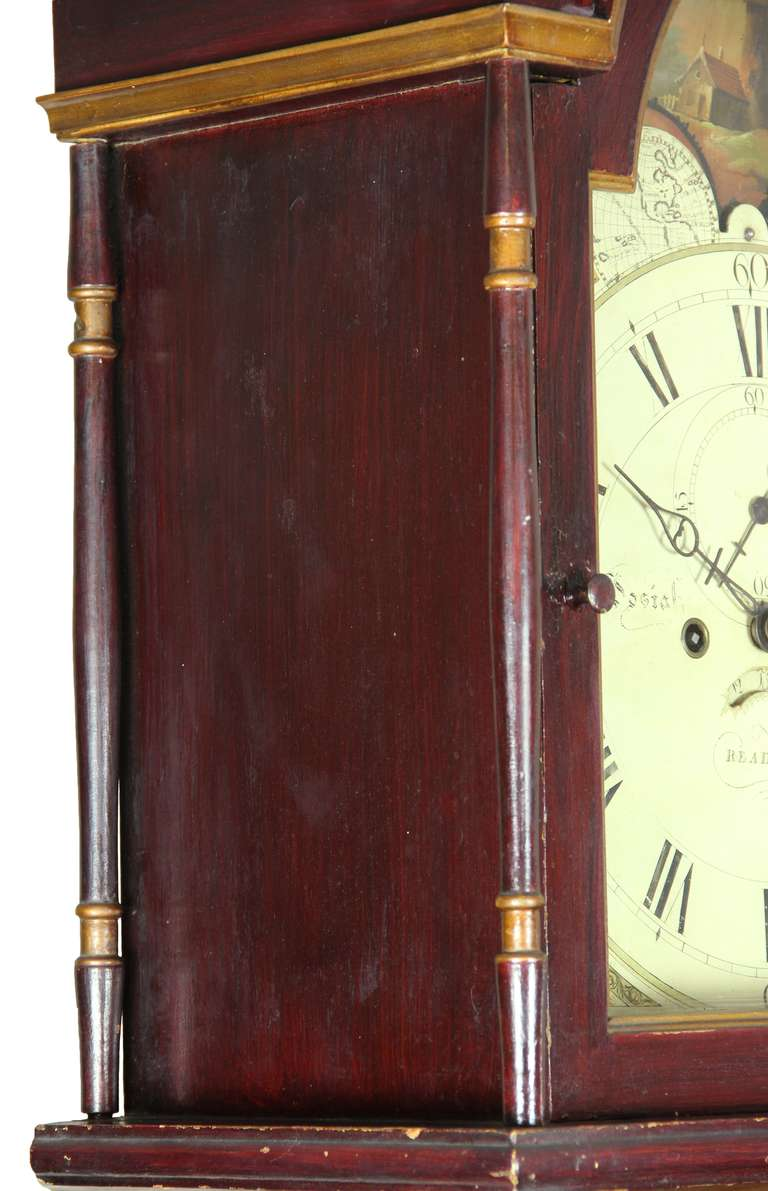19th Century Painted Tall Case Clock, Eight-Day Moon Dial Works For Sale