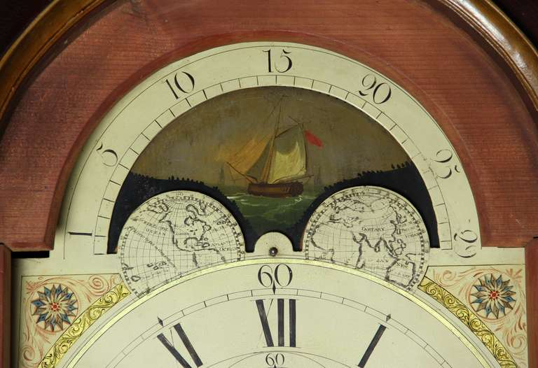Painted Tall Case Clock, Eight-Day Moon Dial Works For Sale 1