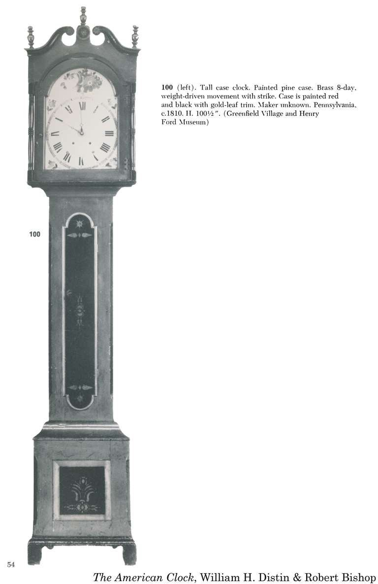 Painted Tall Case Clock, Eight-Day Moon Dial Works For Sale 3