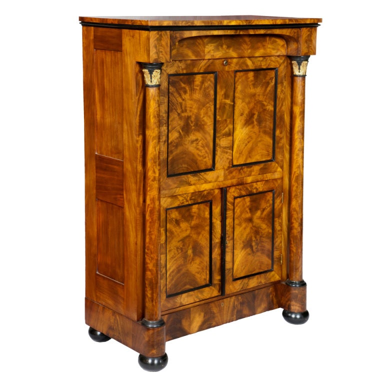 Classical burled walnut secretaire a abattant boston for Furniture 1825