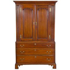 Cherry Chippendale Linen Press with Solid Figured Panels, New Jersey, circa 1780