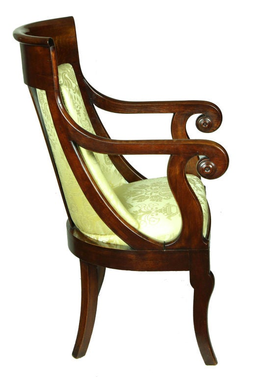 American Classical Classical Mahogany Armchair, French Restoration Taste, Boston For Sale