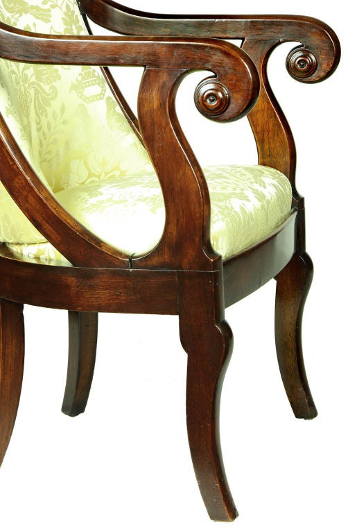 Classical Mahogany Armchair, French Restoration Taste, Boston In Excellent Condition For Sale In Providence, RI