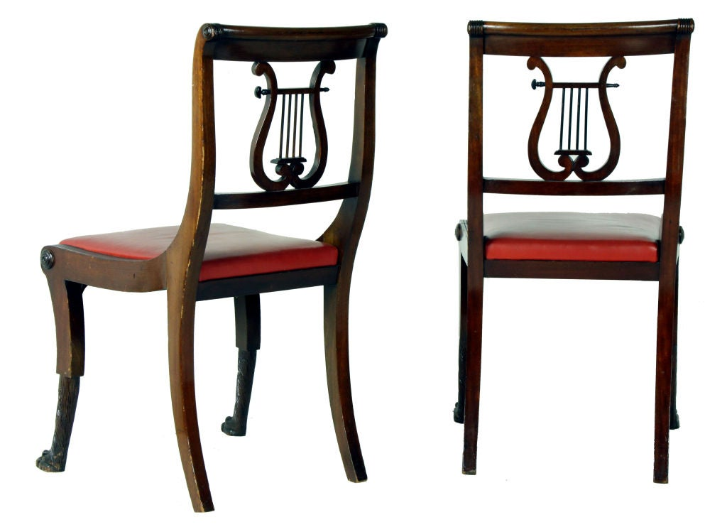 Six Phyfe style Classical Lyre Chairs 1920s ex Burden  : 907512998658134 from www.1stdibs.com size 1024 x 742 jpeg 61kB