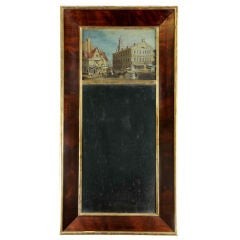 Classical Mirror with European Village or Small Town Scene