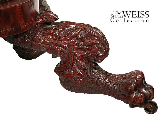 19th Century Carved Mahogany Classical Card Table, New York, circa 1820 For Sale