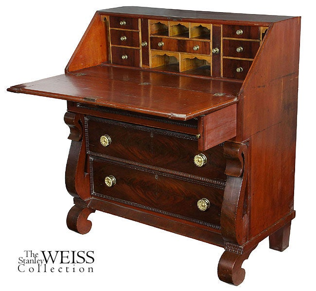 Slant top desk with gothic scroll embellishment new for New england style desk