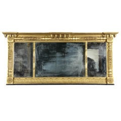 Classical Three-Part Overmantel Gilt Mirror