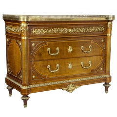 Fine English Mahogany Marble-Top Commode, Late 19th Century