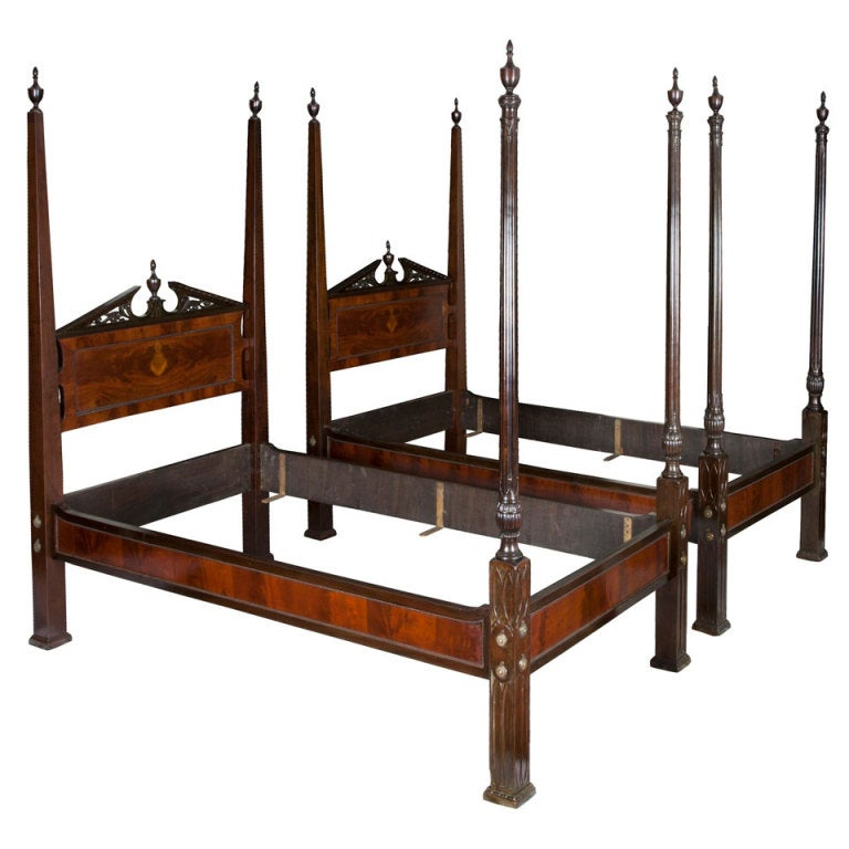 Pair Of Mahogany Chippendale Style Gothic Beds, England Ca