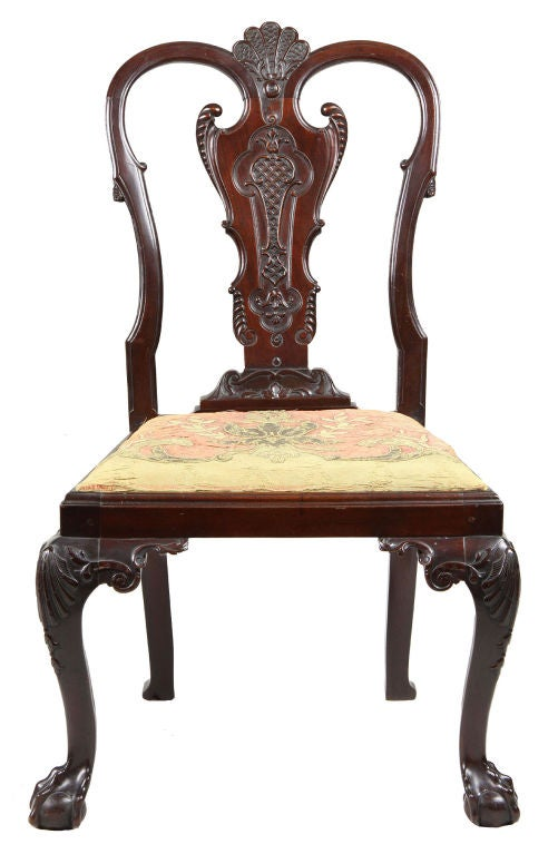 Set of Four Highly Carved Chippendale Side Chairs 3