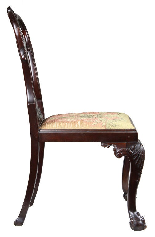 Set of Four Highly Carved Chippendale Side Chairs 4