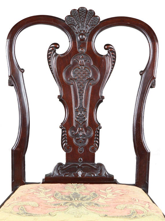 Set of Four Highly Carved Chippendale Side Chairs 5
