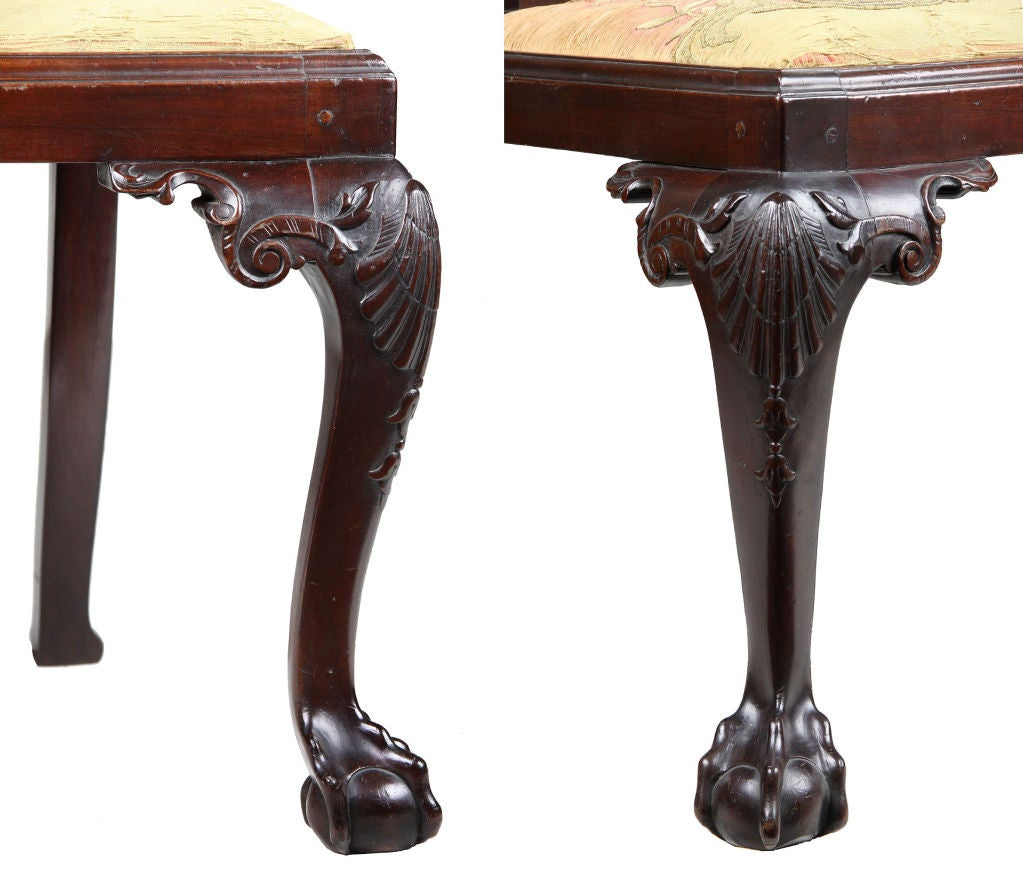 Set Of Four Highly Carved Chippendale Side Chairs For Sale At 1stdibs