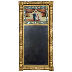 Gilt Empire Mirror with Reverse Painting, circa 1830