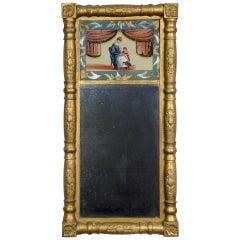 Gilt Empire Mirror with Reverse Painting, circa 1830