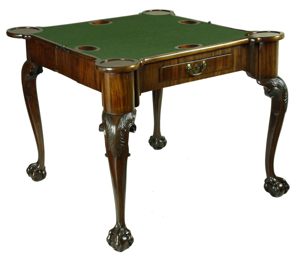 British Carved Mahogany George II Concertina Action Games Table For Sale