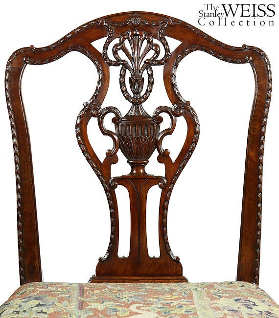 English Fine Sheraton Carved Mahogany Side Chair For Sale