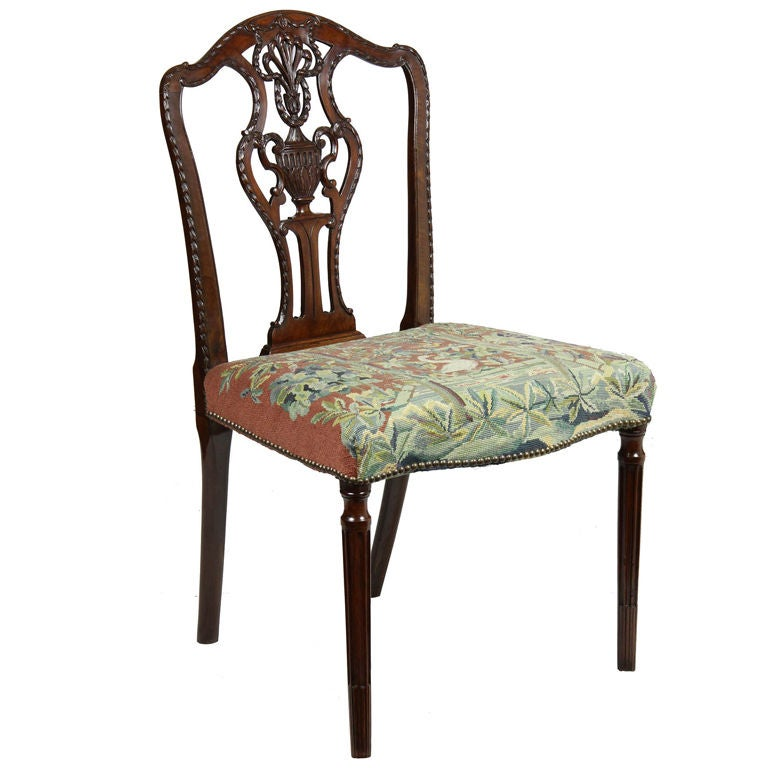 Fine Sheraton Carved Mahogany Side Chair For Sale