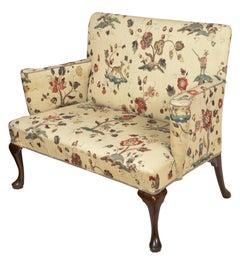 Upholstered Walnut Queen Anne Settee, England, circa 1760