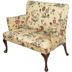 Upholstered Walnut Queen Anne Settee, England, circa 1760