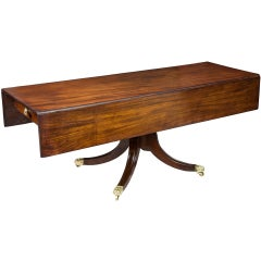 Rare Large Pedestal Mahogany Classical Harvest Table