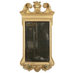 Queen Anne Gilt Mirror with Swan's Neck Pediment and Candleholders, English