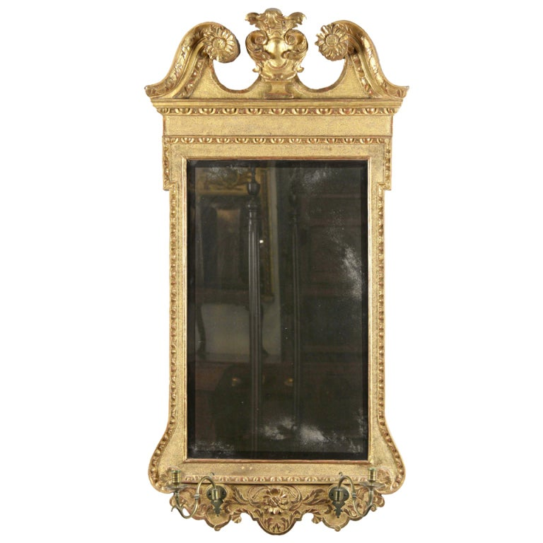 Queen Anne Gilt Mirror With Swanu0027s Neck Pediment And Candleholders, English