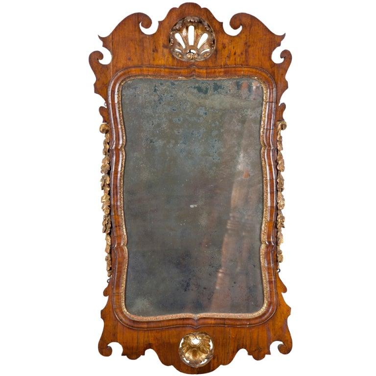 George III Walnut and Parcel-Gilt Mirror, England, circa 1760