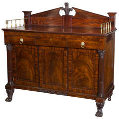 Classical Sideboard of Figured Carved Mahogany, New York, circa 1820