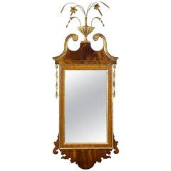 Federal/Hepplewhite Mahogany Mirror, Flowered Urn Finial, Probably, NY