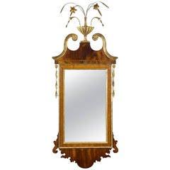 Federal/Hepplewhite Mahogany Mirror, Flowered Urn Finial, Probably, NY