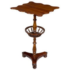 Mahogany Federal or Classical Candle Stand with Basket