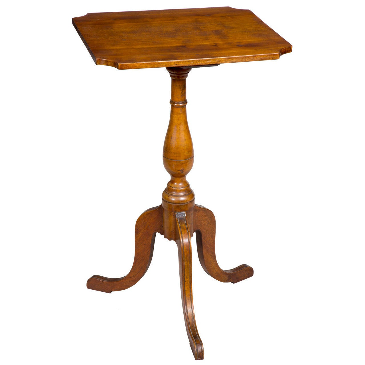Birch Federal Candle Stand with Notched Corners, circa 1820