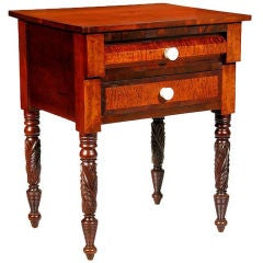 Classical Two-Drawer Stand, Carved in Various Woods, NY, circa 1830
