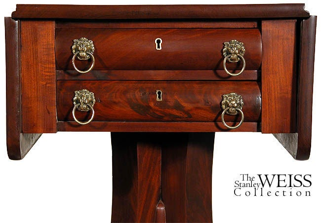 American Empire Mahogany Empire Two-Drawer Worktable with Scroll Feet, NE For Sale