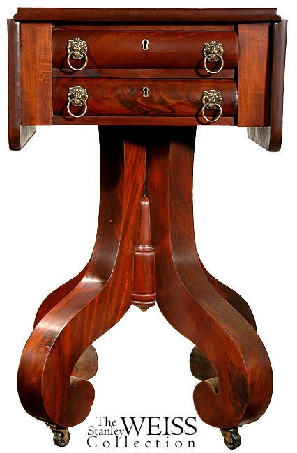 American Mahogany Empire Two-Drawer Worktable with Scroll Feet, NE For Sale