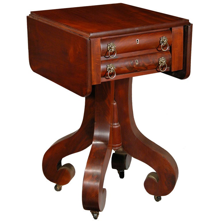 Mahogany Empire Two-Drawer Worktable with Scroll Feet, NE For Sale