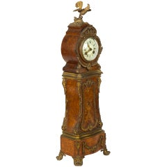Fine Miniature Ormolu-Mounted, Burled Mantel Clock with Pagoda Top and Rooster